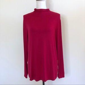 Liz Claiborne Mock Neck Long Sleeve T Shirt Pink L